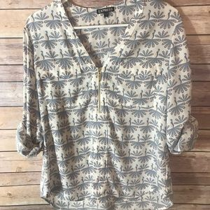 Express peacock print portfino blouse
